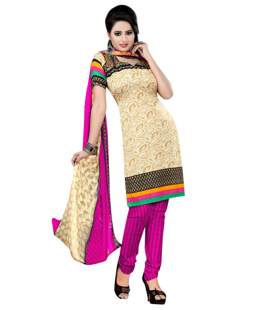 Srt India Multi Color Printed Cotton Dress Material