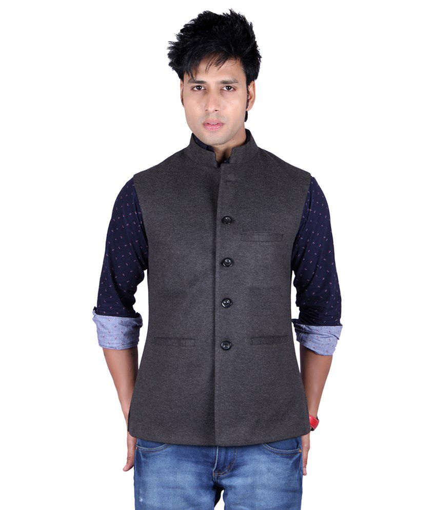 Aurah Gray Semi-formal Cotton Blend Waistcoats