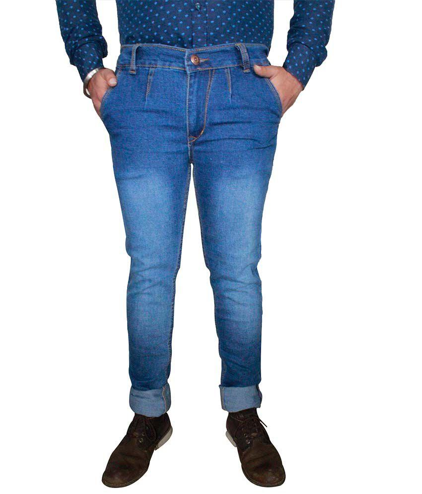 Axsglow Blue Cotton Blend Jeans