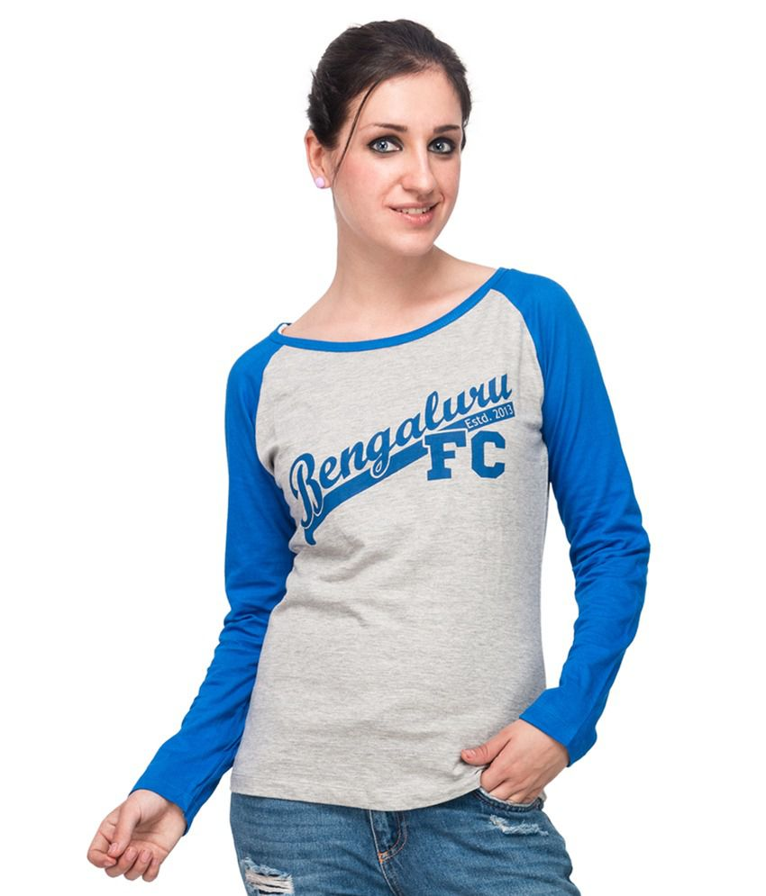 Bfc Women's T Shirt - Grey Melange And Blue