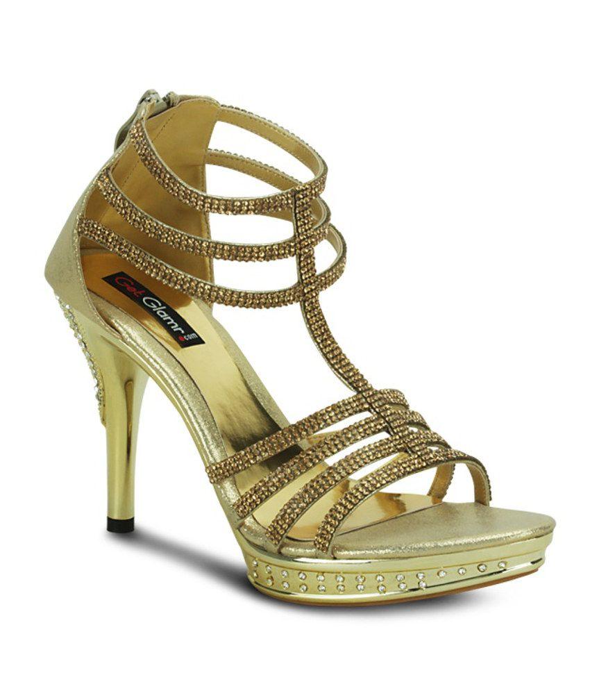 Get Glamr Gold Heeled Sandal