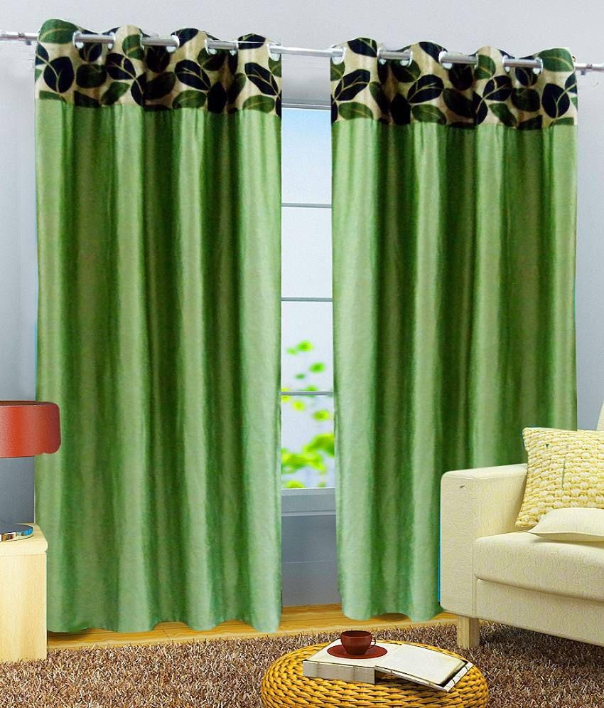 40% OFF On Homefab India Green Plain Polyester Window
