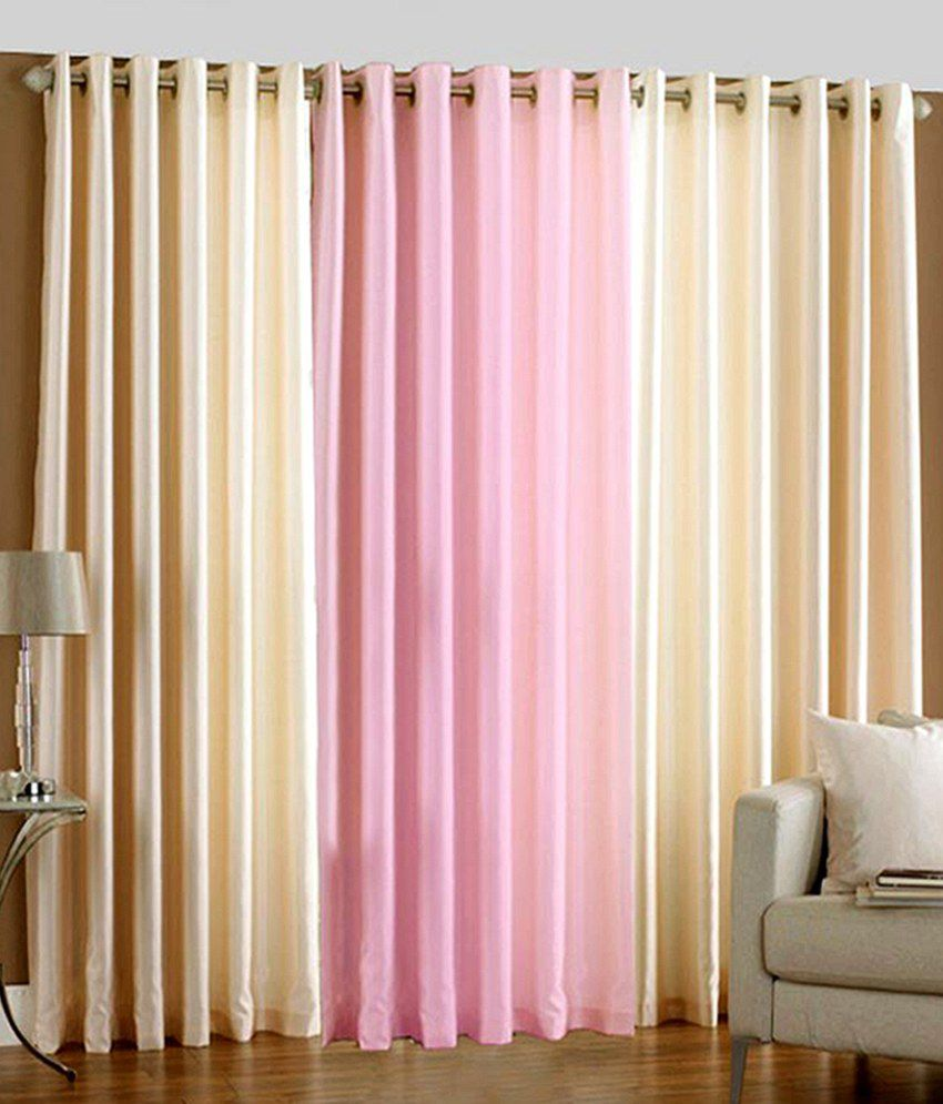 Homefab India Set of 3 Window Eyelet Curtains Solid Multi Color