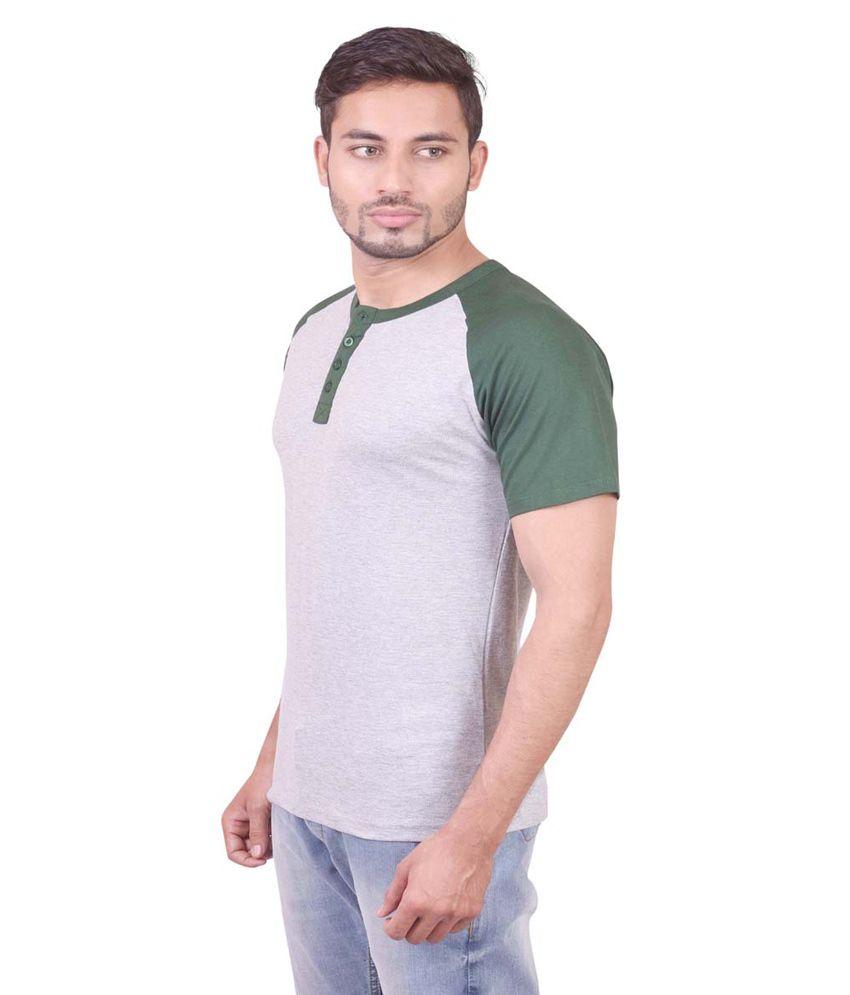 Indiemonk Green Cotton Henley Basics T Shirt
