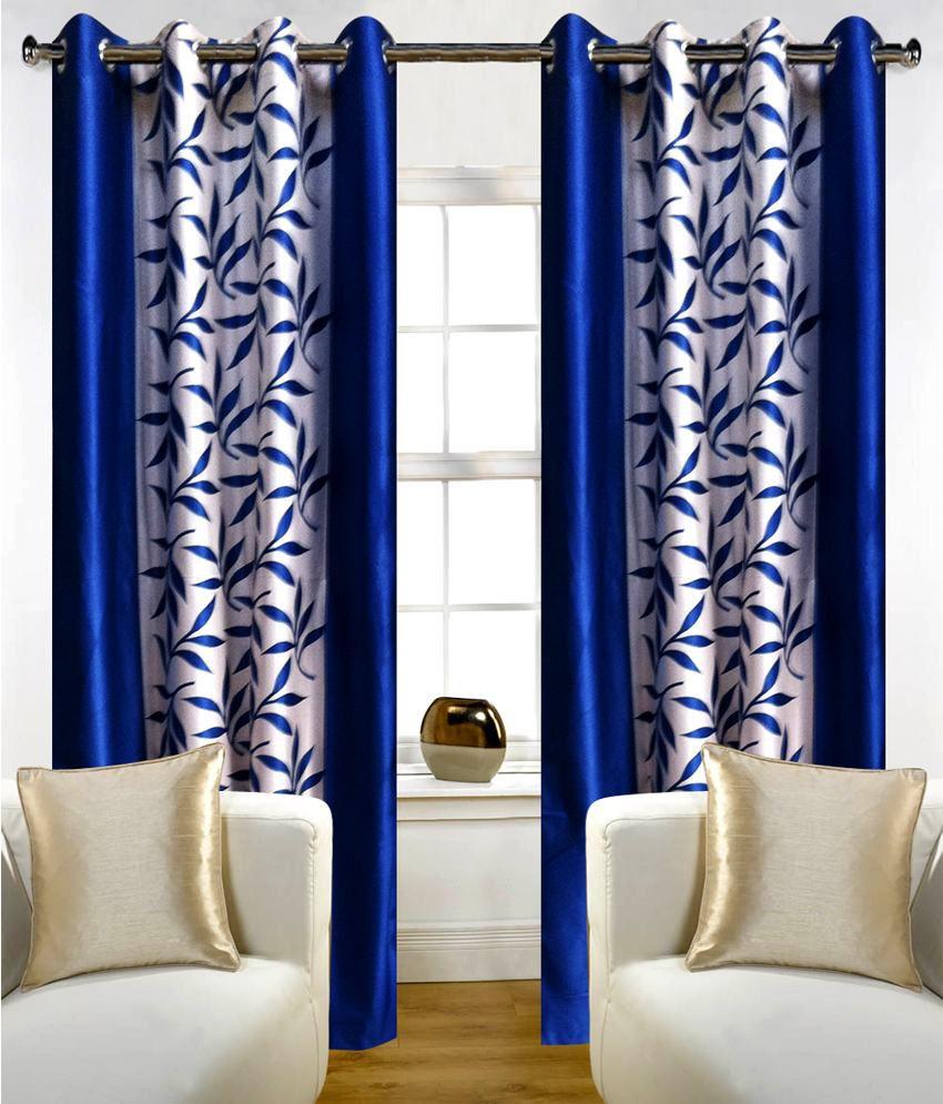 Sanaya Set of 2 Window Sheer Curtains Curtains Contemporary Blue