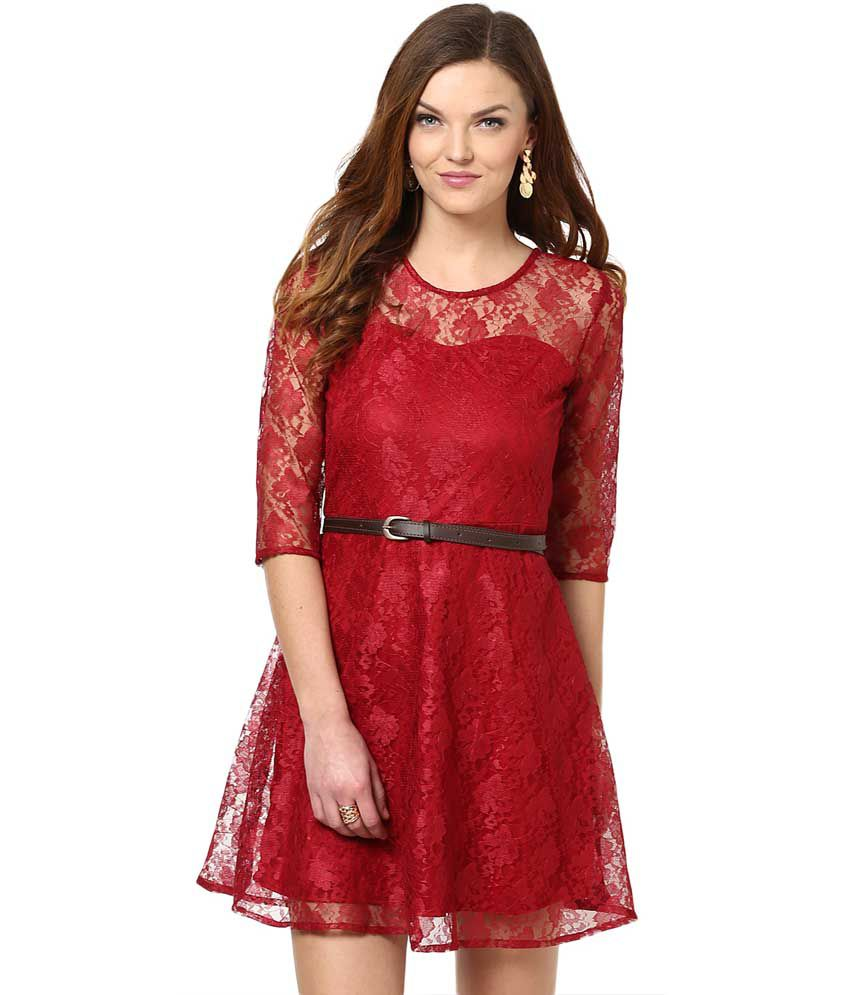 908d6befb709 La Zoire Maroon Lace Dresses - Buy La Zoire Maroon Lace Dresses Online at  Best Prices in India on Snapdeal