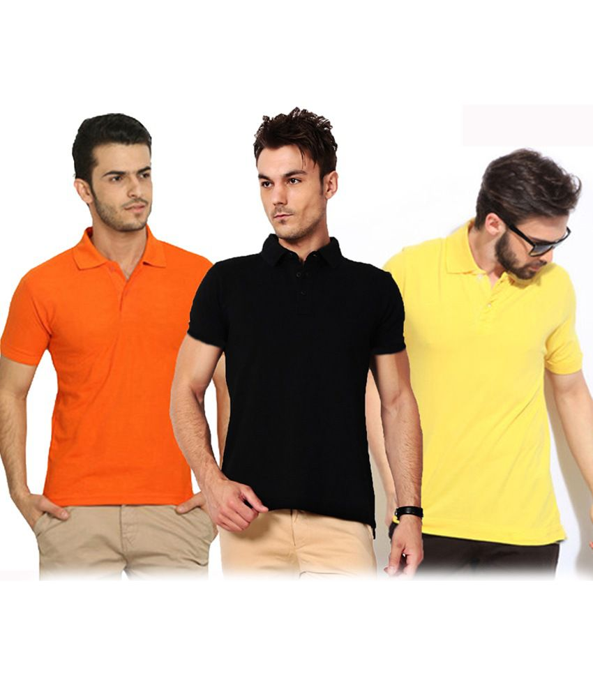 Nimya  Black Yellow Orange Polo Tshirt Pack Of 3