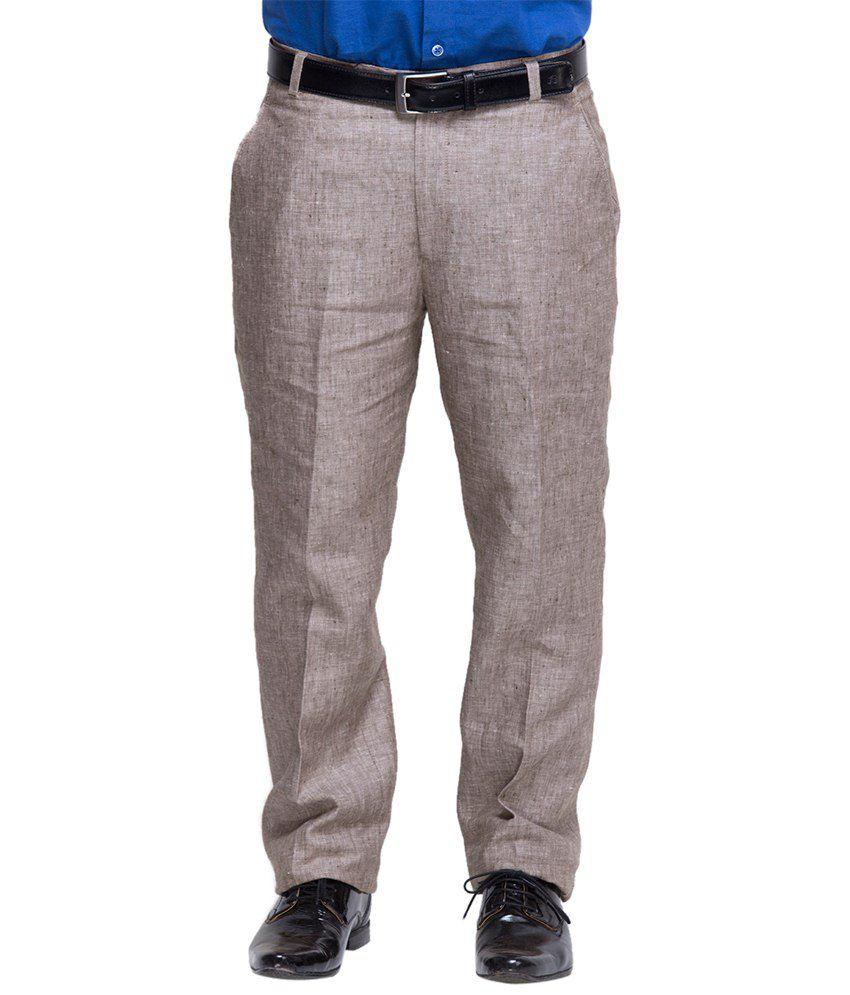 Oxolloxo Grey Linen Regular Wear Trouser