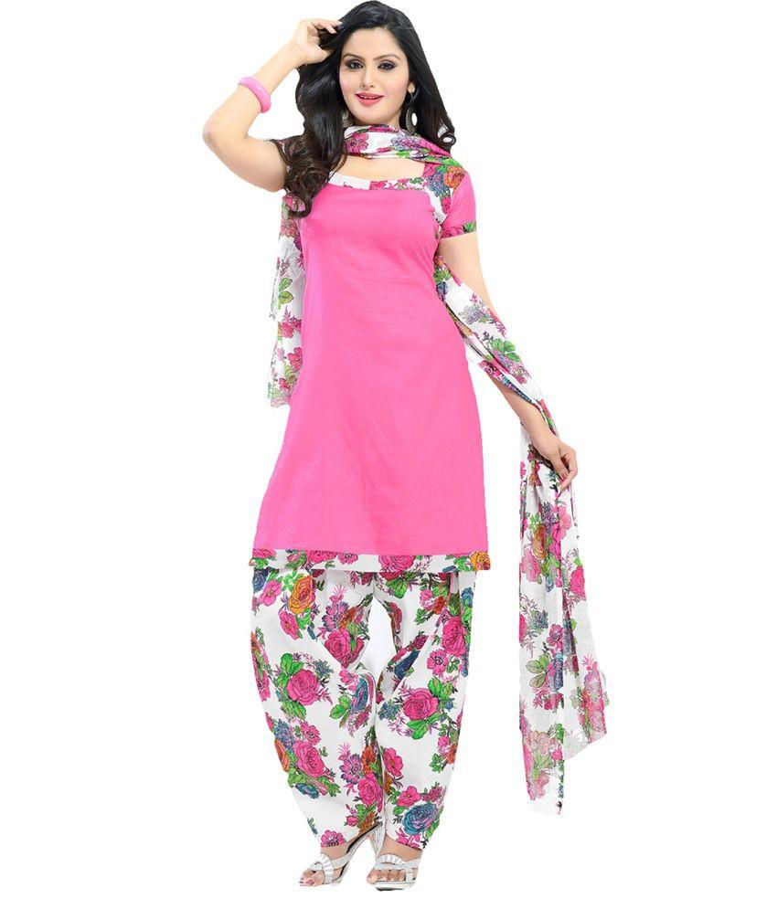 d0393c072e Suchi Fashion Pink White Floral Print Patiala Suit Dress Material - Buy  Suchi Fashion Pink White Floral Print Patiala Suit Dress Material Online at  Best ...