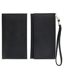 Jo Jo A5 G8 Leather Wallet Universal Pouch Cover For Samsung E2652 Champ Duos - Black, used for sale  Delivered anywhere in India