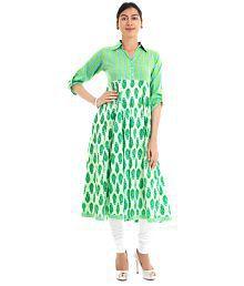 Naksh Jaipur Cotton Green Shirt Anarkali Kurta