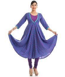 Naksh Jaipur Cotton Purple Printed Anarkali Kurta