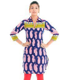 Naksh Jaipur Printed Shirt Style Straight Blue Kurta