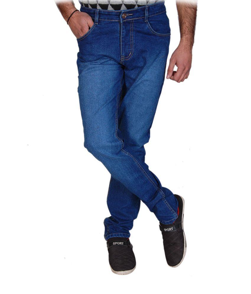 Fashion Flag Blue Cotton Blend Faded Slim Fit Men's Jeans
