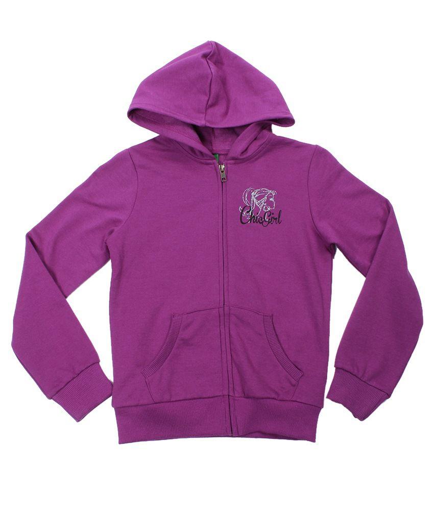 United Colors Of Benetton Purple Hooded Sweatshirt