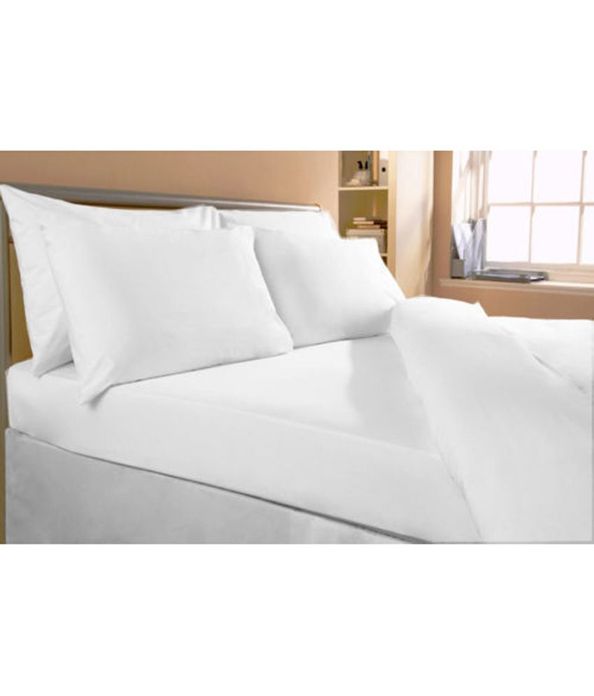 bombay dyeing single white premium bedsheet cotton with pillow cover