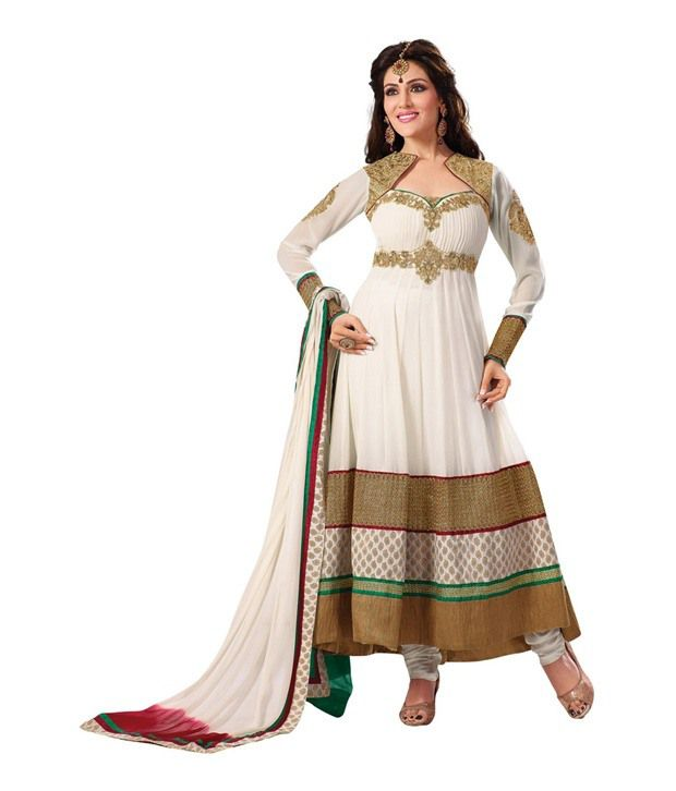 Fabdeal White Georgette Embroidered Semi - Stitched Salwar Suit
