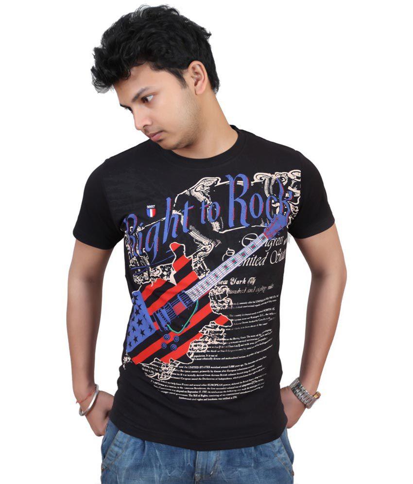 Fulon Black Cotton Round Neck Printed T-shirt