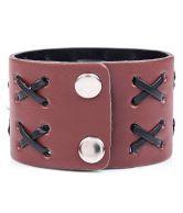 Leather Criss Cross Brown Bracelet For Men By GoldNera