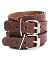 Stylish Dark Brown Leather Adjustable Bracelet For Men By GoldNera