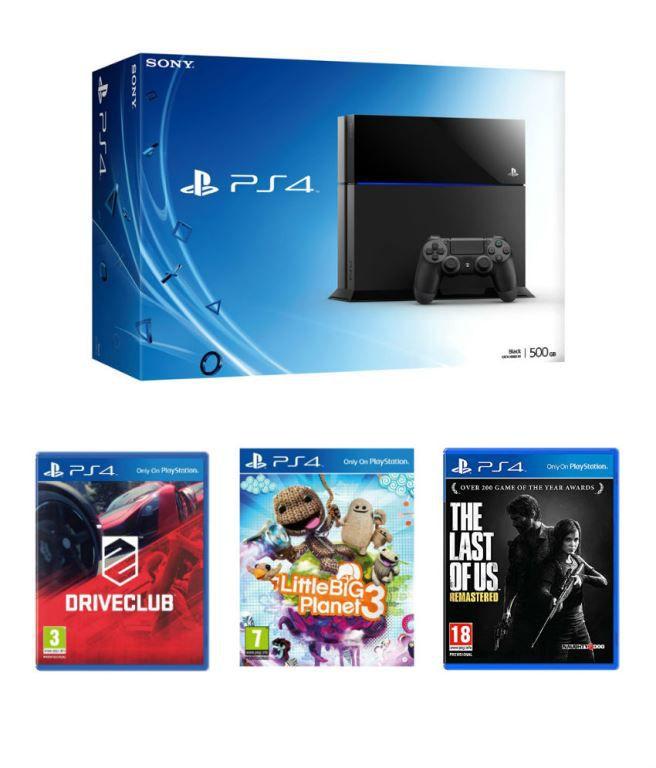 Sony Playstation 4 (500 GB) + The Last of Us + Drive Club + Little Big Planet 3