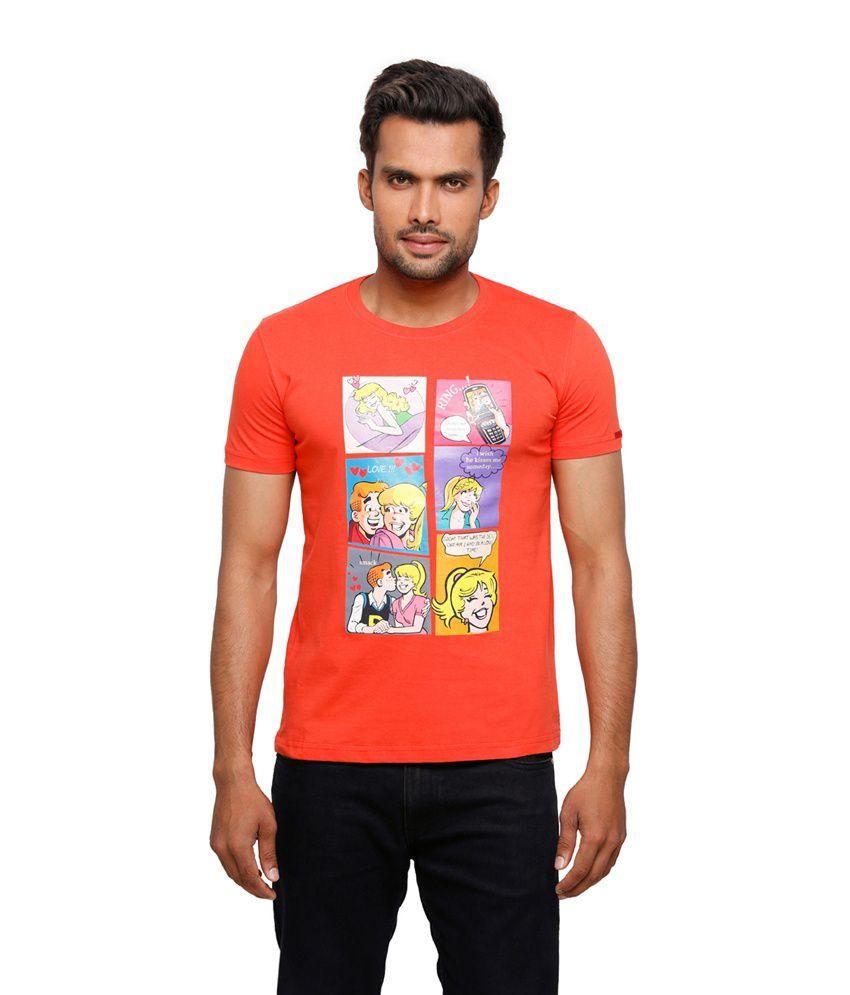 Archie Orange Printed Cotton Round Neck Half Sleeves Men Tshirt