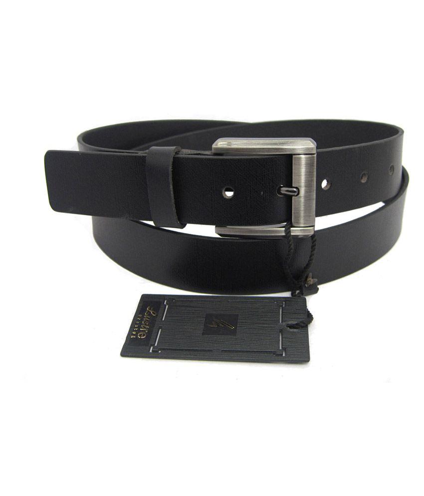 Lustre International Black Leather Single Pin Buckle Formal Belt For Men