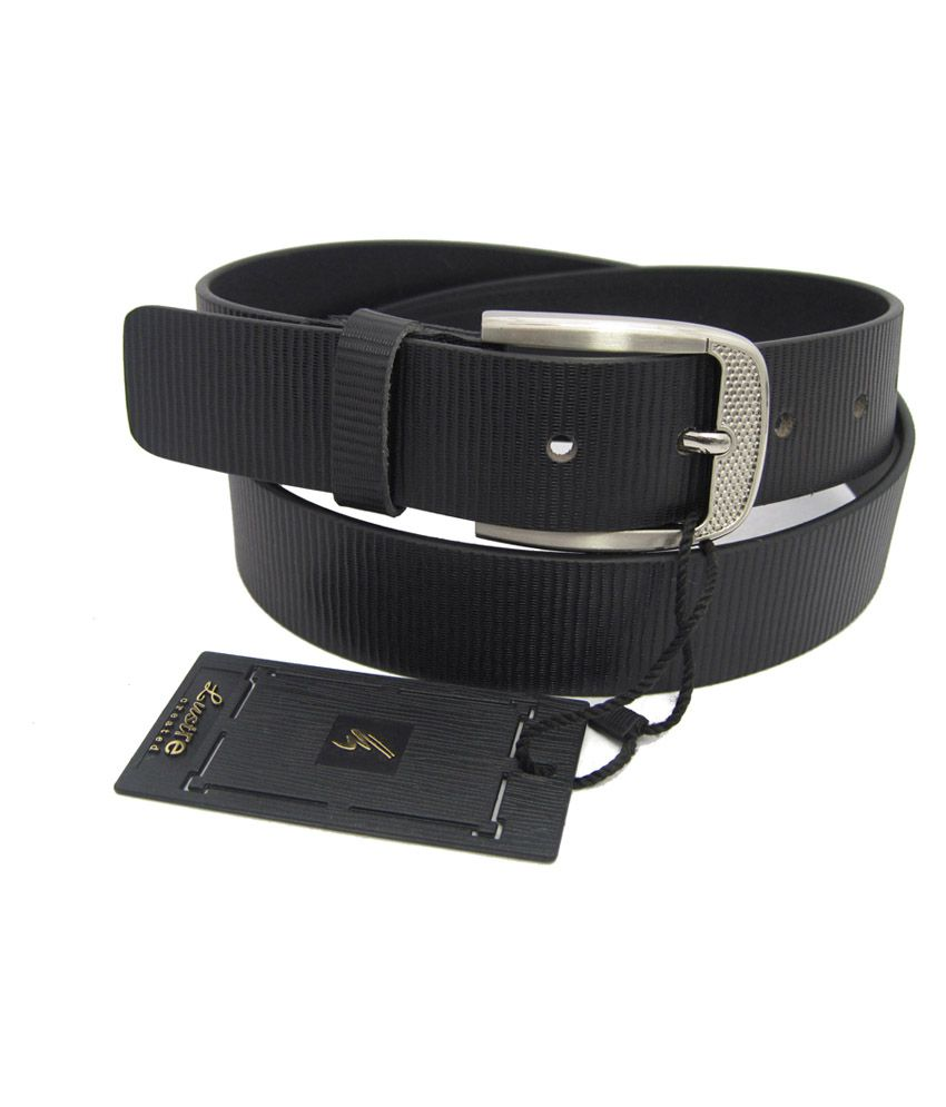 Lustre International Black Leather Single Pin Buckle Formal Belt For Men