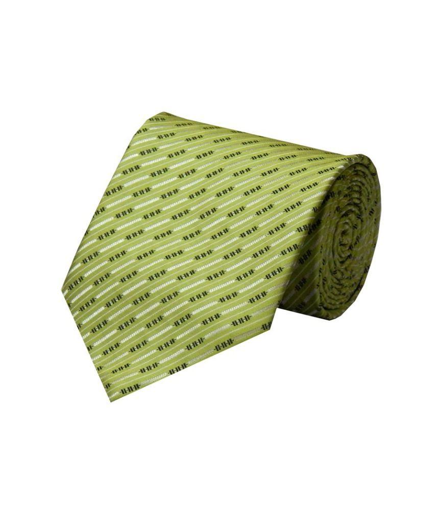 Navaksha Green Micro Fibre Formal Broad Tie