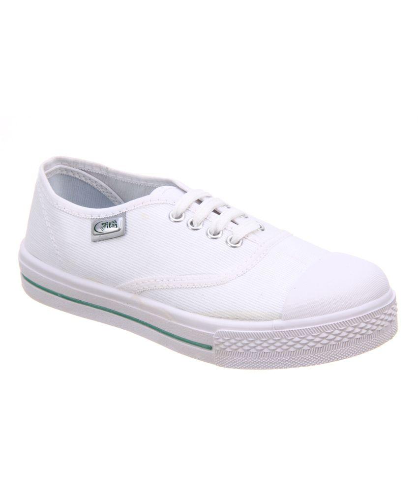 Titas Children White School Canvas Shoe