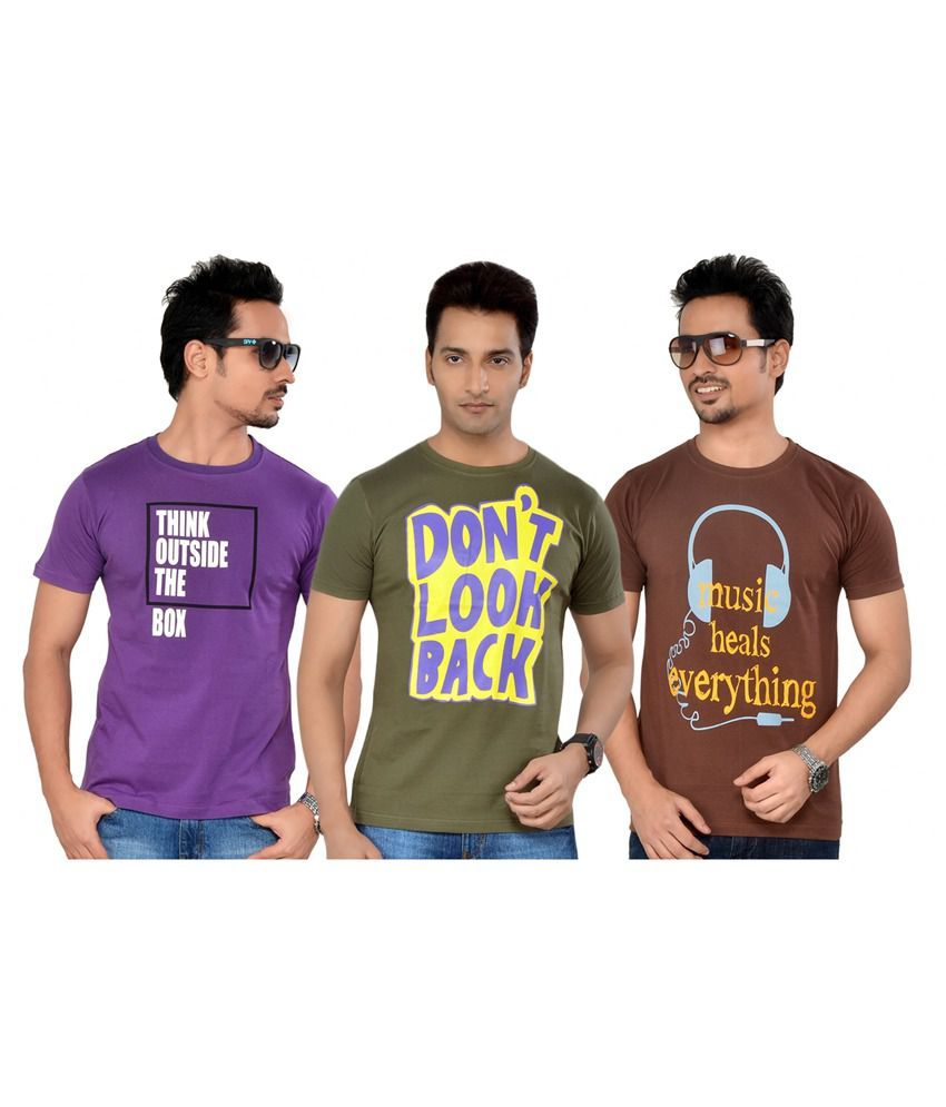 Tsg Escape Men's Pack Of 3 T-shirts- Purple, Green And Brown Colour
