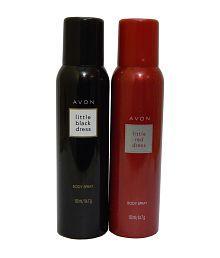 Avon Little Black And Red Dress Body Spray Each 150 Ml (set Of 2)