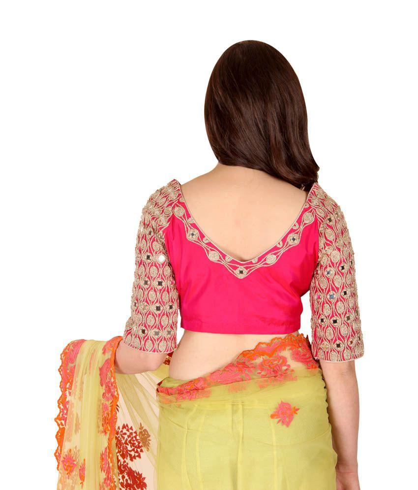 001197c28ffdf1 Ethniche Pink Silk Mirror Work Blouse - Buy Ethniche Pink Silk ...