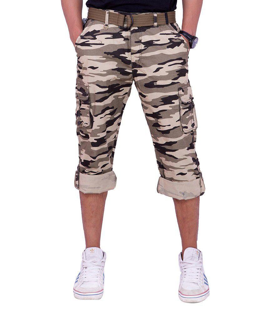 Origin Smart Beige Casual Elastic Patterned Cotton Trouser With Belt For Men  -  Or9843Beg