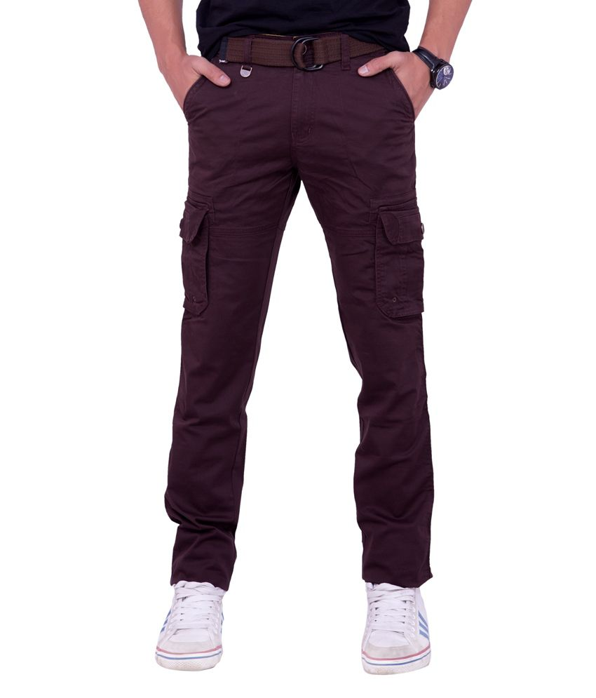 Origin Smart Maroon Casual Elastic Patterned Cotton Cargo With Belt For Men  -  Or9022Mrn