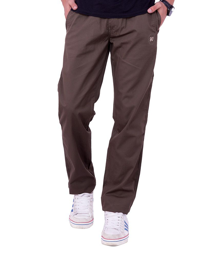 Origin Smart Brown Casual Elastic Patterned Cotton Trouser For Men  -  9834_Brown