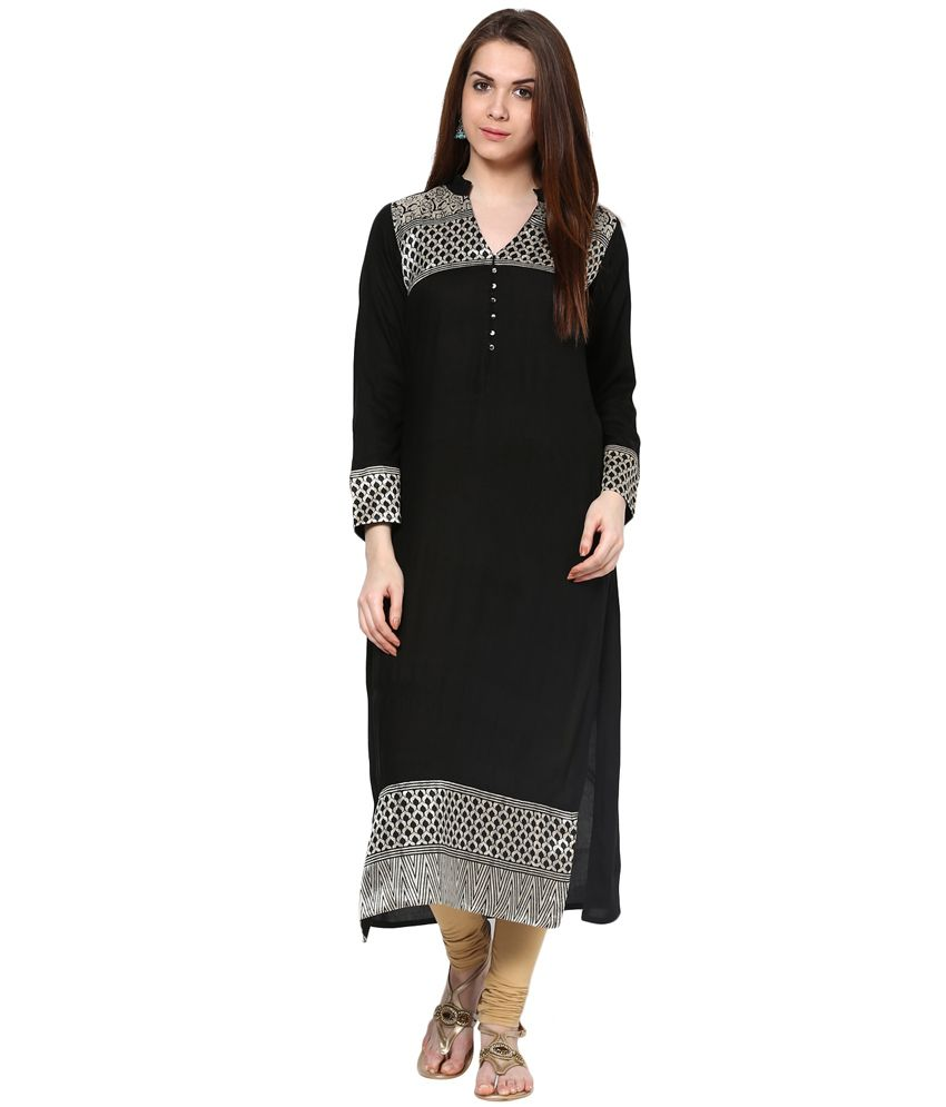 Ives Black Poly Rayon Full Sleevee Solid Kurti