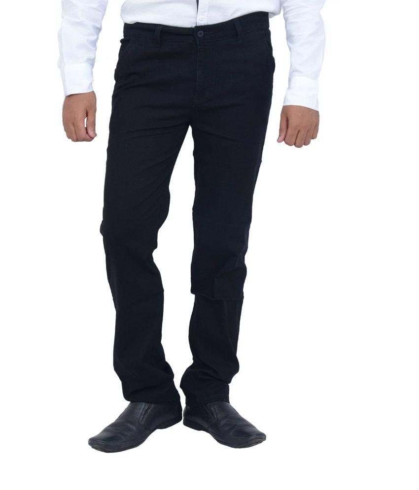 Studio Nexx Black Cotton Slim Fit Men's Trouser