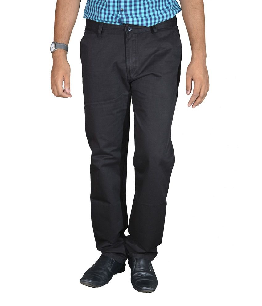 Studio Nexx Black Cotton Chinos Men's Trouser