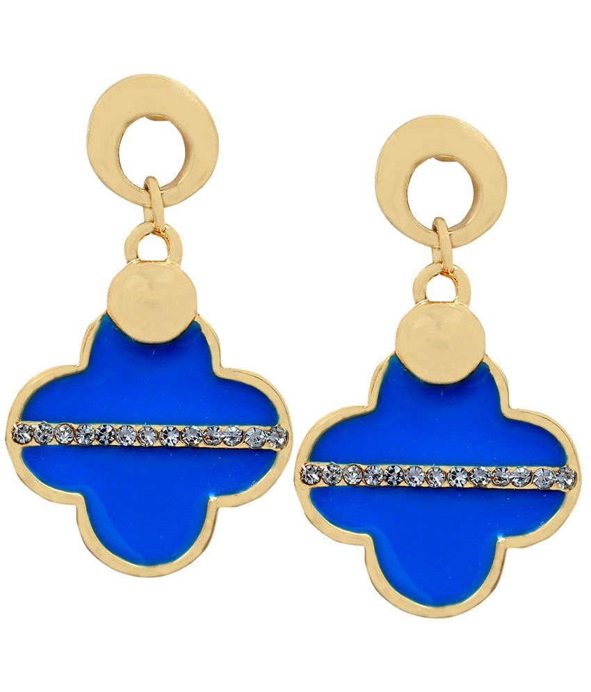 Maayra Exquisite Blue Designer Push-back Drop Earrings