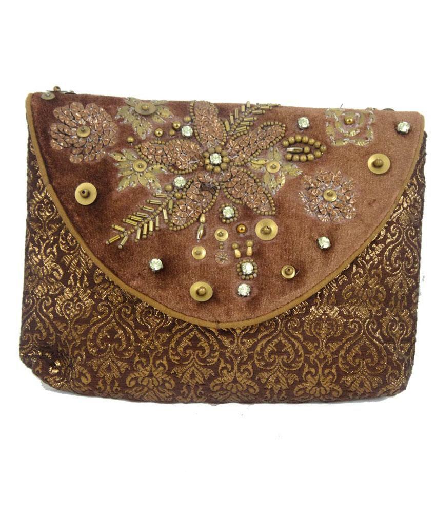 Exmart Brown Velvet Embroidered Clutch