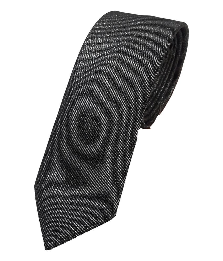 Raymond Black Polyester Plain Thin Ties With Tie Envelop