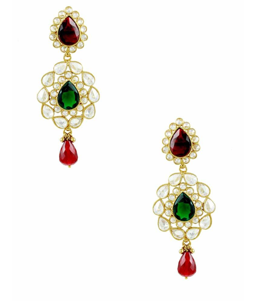 Orniza Red & Green Colored Drop shape Reverse AD Design Earrings