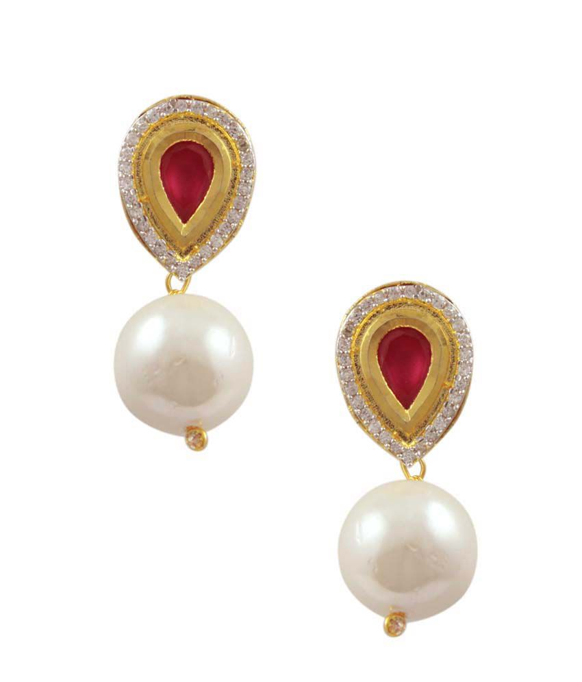 Orniza Ruby CZ Tops with Pearl Drops