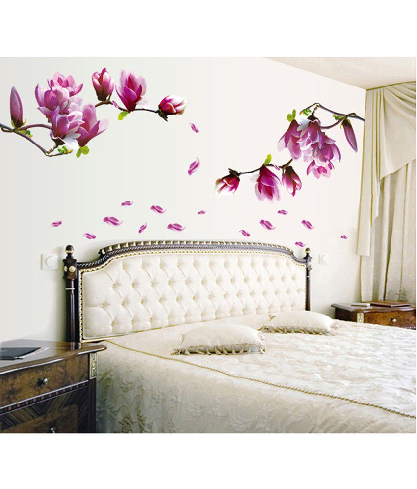 Uberlyfe purple flowers wall stickers home decor size 55cm x 150cm