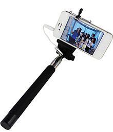 M-zone Extendable Selfie Stick With Aux Cable Hand Held Monopod - Black