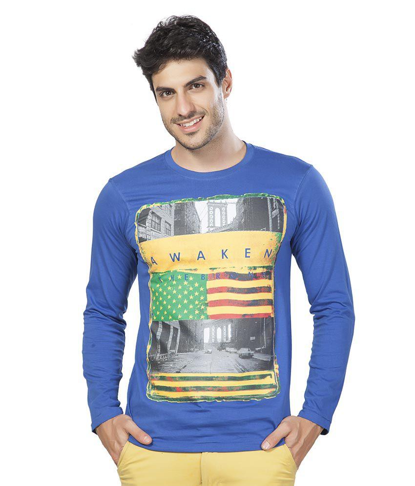 Alan Jones Clothing Printed Blue Full Cotton T-shirt