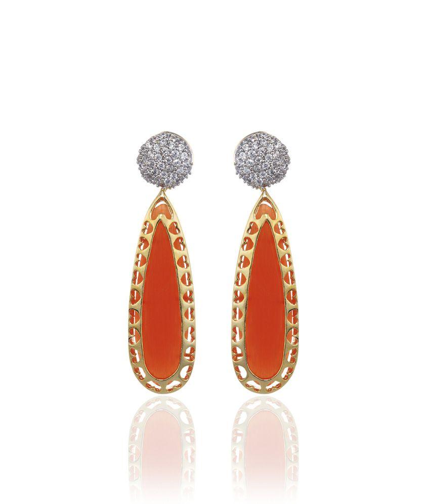 Alysa Orange Rambha Gold Plated Orange Pushback Earrings
