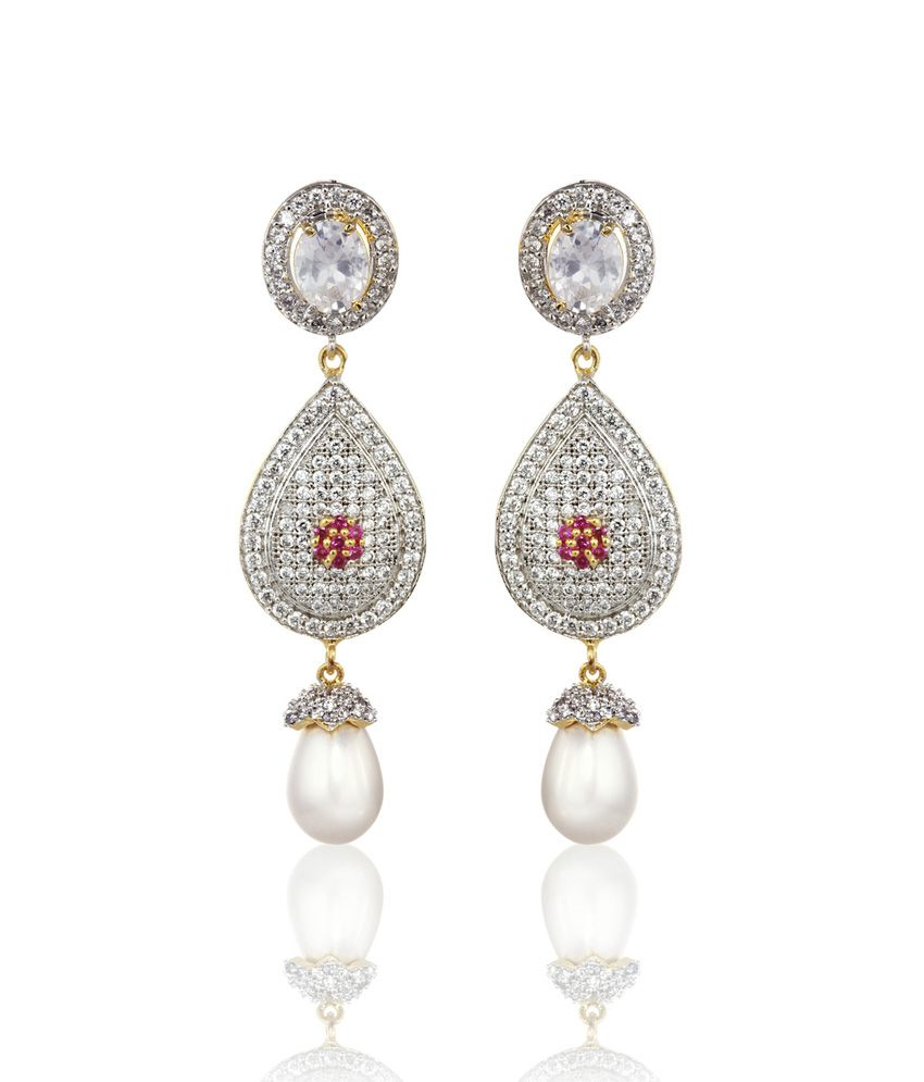 Alysa Silver Anugraha Rhodium Plated Cz Pushback Earrings