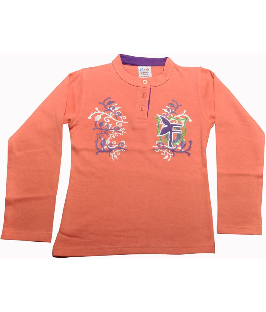 Bg Casual Orange Cotton Chinese Collar Floral Design Girl's Full Sleeve Sweatshirt
